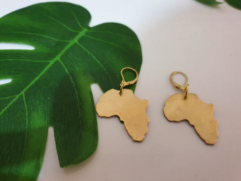 Small brass Africa Earrings