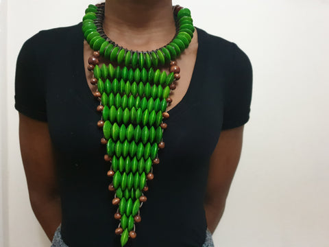 Green large statement rosewood necklace