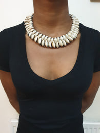 Cowrie shell bead choker necklace