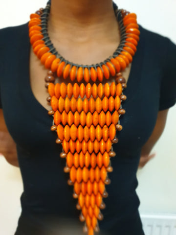 Orange large statement rosewood necklace