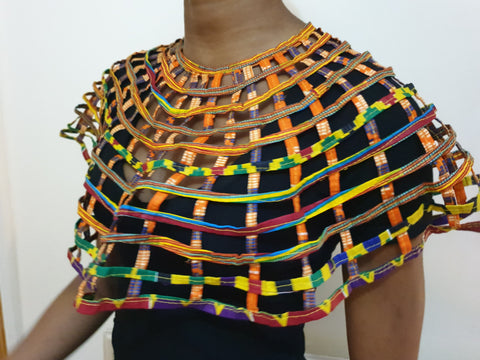 African Cape necklace top with button closure