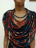 Red and blue African fabric large multi-layered statement necklace