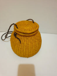 Mustard yellow rattan pot straw bag