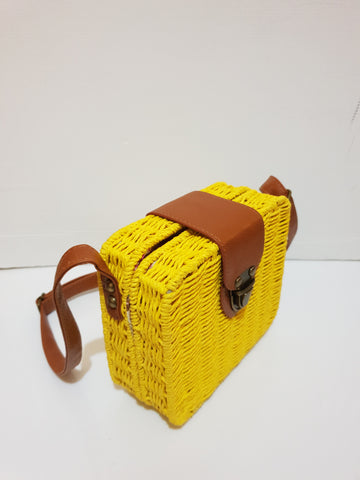 Yellow square rattan straw bag