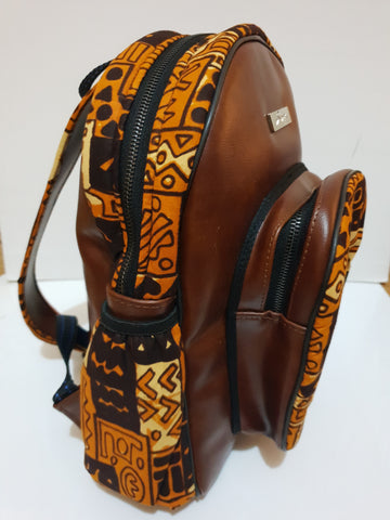 Leather and African brown print backpack