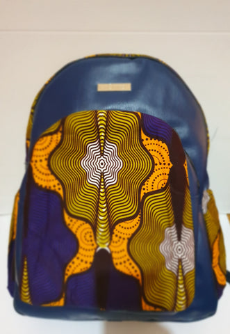 Leather and African blue print backpack