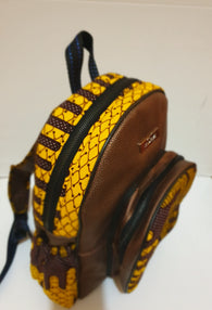 Leather and African print backpack - brown metallic