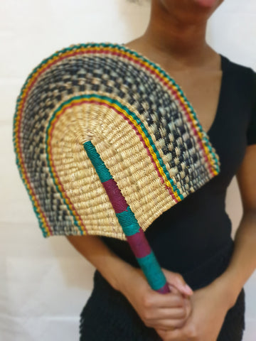 Beautiful handwoven and decorative Bolga fan, hand fan, African fan, Ghanaian fan