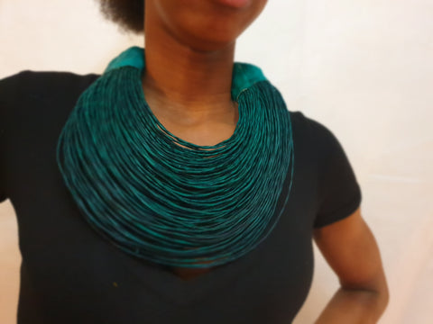 Thick leather layered statement necklace - Green