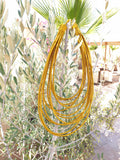 12 strand - mustard silk rope layered statement necklace