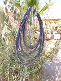 12 strand - blue silk rope layered statement necklace