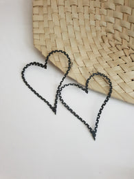 Large Heart shaped up-cycled earrings - made from tyre rubber