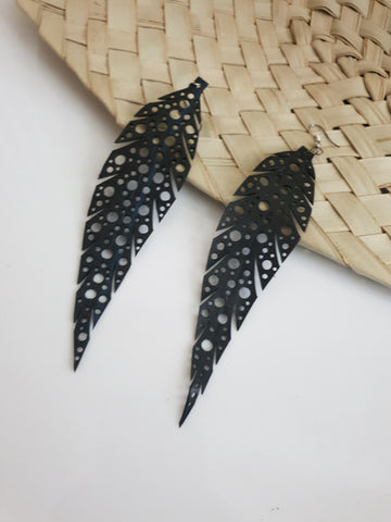 Leaf shaped up-cycled earrings - made from tyre rubber