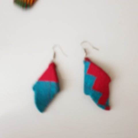 Blue and red kente  twisted earrings