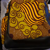 Black  handmade Leather and African print backpack