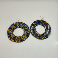 Large circle African fabric earrings