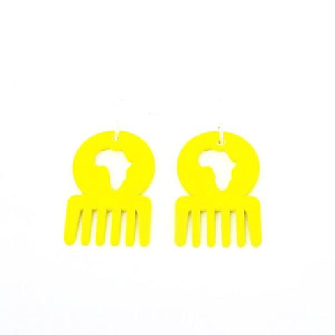 Afro comb african shape wooden earrings