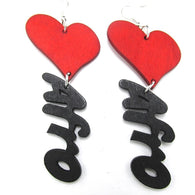 African heart earrings