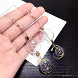 Transparent Glass Ball Long Earrings Statement Earrings