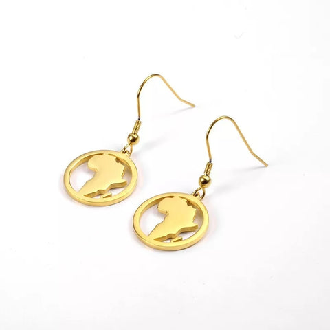 Gold Africa Shape African Outline Ethnic Afrocentric Earrings