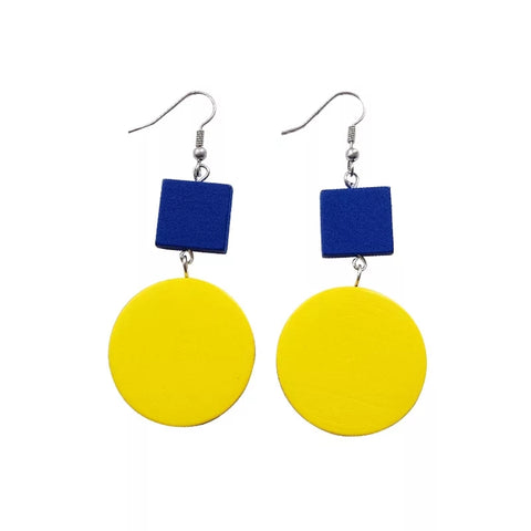 Yellow Round Wooden earrings