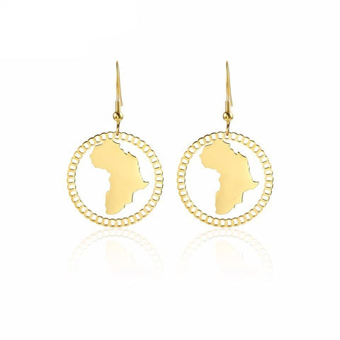 Gold Africa Shaped Earrings - Hollow African Continent
