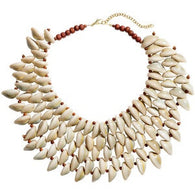 Cowrie bead statement necklace