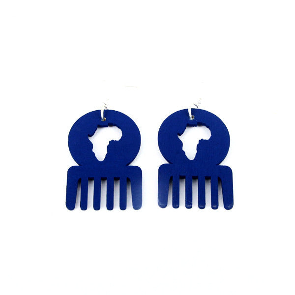 Blue small afro comb earrings