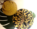 African Leather Folding Fan