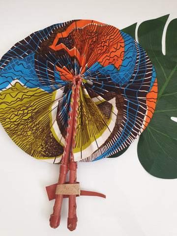 Blue, orange and green African Leather Folding Fan