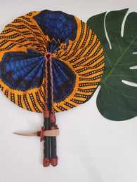 Blue and yellow African Leather Folding Fan