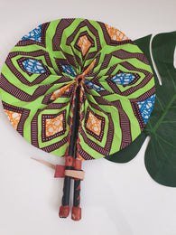Green, brown and blue African Leather Folding Fan