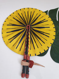 Yellow and purple i coloured African Leather Folding Fan