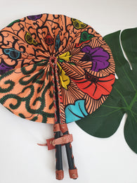 Peach coloured African Leather Folding Fan