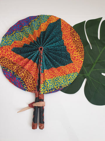 Geometric design African Leather Folding Fan