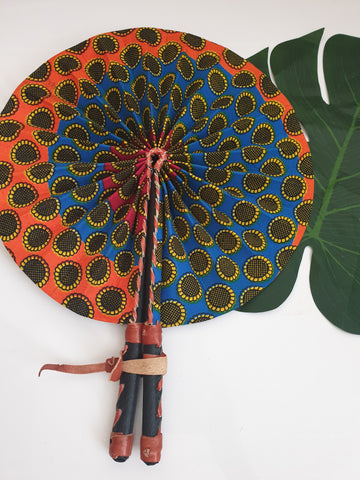 Circle design African Leather Folding Fan