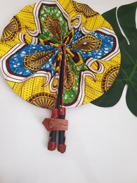 Yellow and blue African Leather Folding Fan