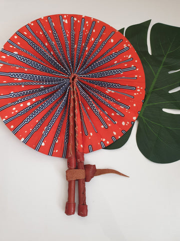 Orange and blue African Leather Folding Fan