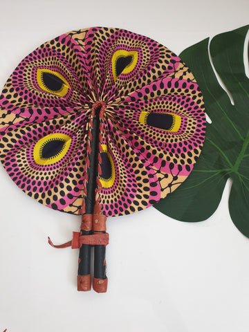 Pink and yellow African Leather Folding Fan