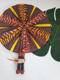 Brown, orange and yellow African Leather Folding Fan
