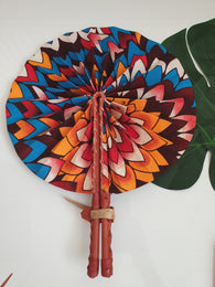 Floral print - Brown, orange and yellow African Leather Folding Fan