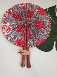 Red, yellow and white - African Leather Folding Fan