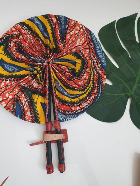 Orange, yellow and blue - African Leather Folding Fan