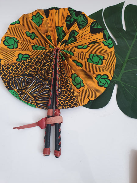 yellow and green - African Leather Folding Fan