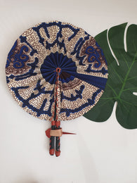Blue and white African Leather Folding Fan