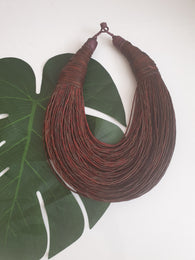 Brown leather layered bib statement necklace