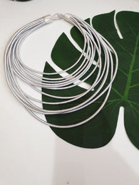 12 Strand silk layered necklace - Silver