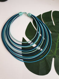 12 Strand silk layered necklace - Shades of Blue