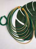 12 Strand silk layered necklace - Green and Gold
