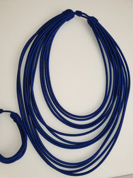 12 Strand silk layered necklace - Royal Blue